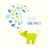 Cartel de la fiesta de bienvenida al bebé para un muchacho ilustración del vector