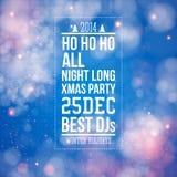 Cartel de la fiesta de Navidad. Fondo brillante azul. Imagenes de archivo