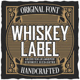 Cartel de la fuente de la etiqueta del whisky del vintage Foto de archivo