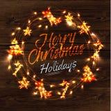 Cartel de la guirnalda de la guirnalda de la Navidad Foto de archivo