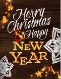Cartel de la guirnalda de la Navidad Imágenes de archivo libres de regalías