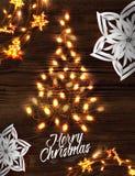 Cartel de la guirnalda del árbol de navidad Fotografía de archivo libre de regalías
