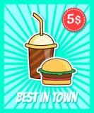 Cartel de la hamburguesa Fotografía de archivo