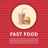Cartel de la hamburguesa y de la taza de la soda Imagen coloreada historieta linda de los alimentos de preparación rápida Element Foto de archivo