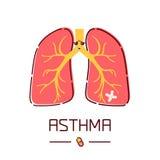 Cartel de la historieta del asma Fotografía de archivo