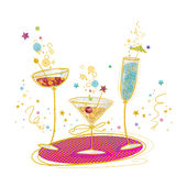 Cartel de la invitación del cóctel Ejemplo dibujado mano de cócteles Vidrio de cóctel Barra del cóctel Invitación del cumpleaños Fotos de archivo