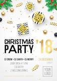 Cartel de la invitación de la fiesta de Navidad o plantilla de la bandera de la recepción del partido de la celebración de las va libre illustration