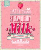 Cartel de la leche de la fresa del vintage. Illustratio del vector Foto de archivo