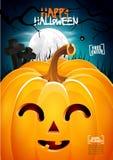 Cartel de la linterna del enchufe de la cabeza de la calabaza de Halloween Imagen de archivo libre de regalías