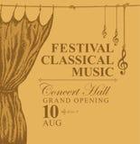 Cartel de la música clásica con la cortina de la etapa del oro libre illustration