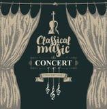 Cartel de la música clásica con el violín y las cortinas ilustración del vector