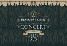 Cartel de la música clásica con las cortinas negras de la etapa stock de ilustración