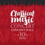 Cartel de la música clásica con las cortinas rojas de la etapa ilustración del vector
