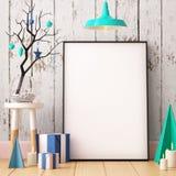 Cartel de la maqueta de la Navidad en el interior fotos de archivo libres de regalías