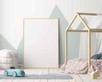 Cartel de la maqueta en el cuarto del ` s de los niños en colores en colores pastel Estilo escandinavo ilustración 3D Imágenes de archivo libres de regalías