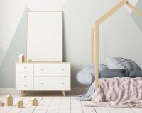 Cartel de la maqueta en el cuarto del ` s de los niños en colores en colores pastel Estilo escandinavo ilustración 3D Fotografía de archivo libre de regalías