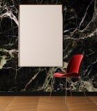 Cartel de la maqueta en interior del estilo del art déco Cartel en el fondo de una pared de mármol ilustración 3D representación  Fotografía de archivo