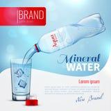 Cartel de la marca de la publicidad del agua mineral stock de ilustración