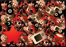 Cartel de la música con centenares de elementos Foto de archivo libre de regalías