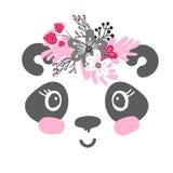 Cartel de la muchacha del pequeño panda Ilustración del Vector
