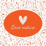 Cartel de la naturaleza del amor Flores y corazones Imagenes de archivo