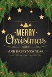 Cartel de la Navidad Árbol de navidad, bayas de la nieve La caída de oro de las estrellas Feliz Año Nuevo Texto del oro en un fon Foto de archivo libre de regalías