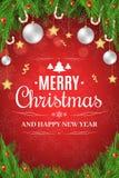 Cartel de la Navidad Árbol de navidad, bayas de la nieve, piruletas del azúcar Estrellas del oro y caída blanca de las bolas Feli Imagen de archivo