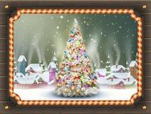 Cartel de la Navidad con el pueblo EPS 10 Fotografía de archivo