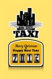 Cartel de la Navidad del estilo del vintage para el taxi Ilustración del vector Foto de archivo libre de regalías