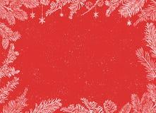 Cartel de la Navidad Ejemplo del vector del fondo de la Navidad con las ramas Fotografía de archivo