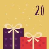 Cartel de la Navidad La Navidad colorida Advent Calendar Cuenta descendiente a la Navidad 20 Fotografía de archivo