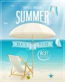 Cartel de la opinión de la playa. Foto de archivo libre de regalías