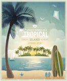 Cartel de la opinión de la playa del vintage. Imagen de archivo libre de regalías