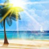 Cartel de la opinión de la playa y formas geométricas libre illustration