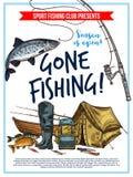 Cartel de la pesca con el equipo de los pescados y del pescador ilustración del vector