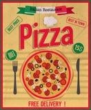 Cartel de la pizza Imágenes de archivo libres de regalías