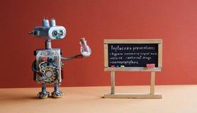 Cartel de la prevención de la gripe El doctor del robot sostiene el envase antivirus de la droga, temas manuscritos del virus de  fotos de archivo