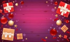 Cartel de la promoción con las bolas de la Navidad, las estrellas, las cajas de regalo, el confeti y el lugar para el texto Plant libre illustration