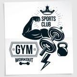 Cartel de la publicidad del gimnasio Composición del vector creada usando el brazo atlético del bíceps del deportista con pesa de stock de ilustración