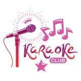 Cartel de la publicidad del Karaoke del club nocturno compuesto con el ejemplo del vector del micrófono de la etapa o del registr ilustración del vector