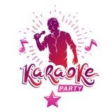 Cartel de la publicidad del partido del Karaoke compuesto con el ejemplo del vector del micrófono de la etapa o del registrador y ilustración del vector