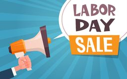 Cartel de la publicidad de la venta del Día del Trabajo con la mano que lleva a cabo megáfono concepto del descuento del 1 de may Libre Illustration