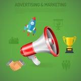 Cartel de la publicidad y del márketing del negocio Imagen de archivo