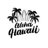 Cartel de la resaca de las letras de la mano de Aloha Hawaii, impresión de la camiseta Imágenes de archivo libres de regalías