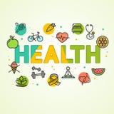 Cartel de la tarjeta del concepto de la salud de la historieta Vector ilustración del vector