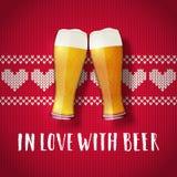 Cartel de la tarjeta del día de San Valentín de la cerveza Imagenes de archivo