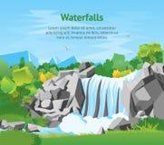 Cartel de la tarjeta del fondo del paisaje de la cascada de la historieta Vector Fotos de archivo