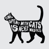 Cartel de la tipografía con el gato negro Fotos de archivo