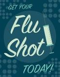 Cartel de la vacuna contra la gripe Foto de archivo