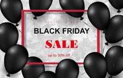 Cartel de la venta de Black Friday con los globos brillantes en el fondo blanco con el marco cuadrado Ilustración del vector libre illustration